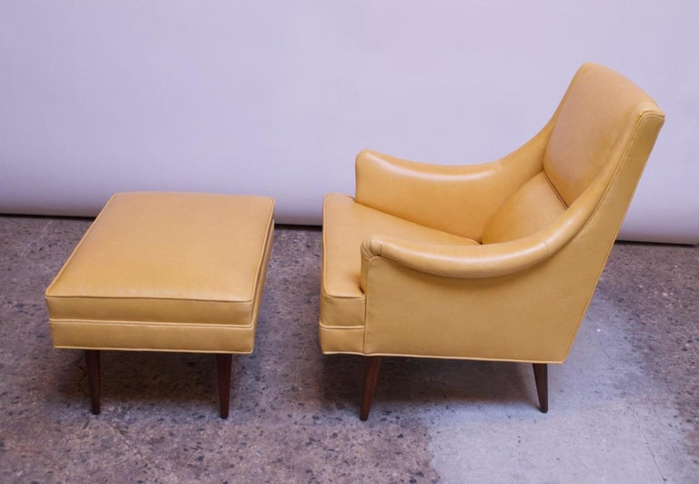 Mid-20th Century Leather and Walnut Milo Baughman for James Inc. Lounge Chair and Ottoman For Sale