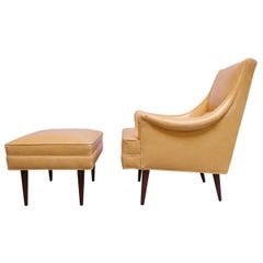 Leather and Walnut Milo Baughman for James Inc. Lounge Chair and Ottoman