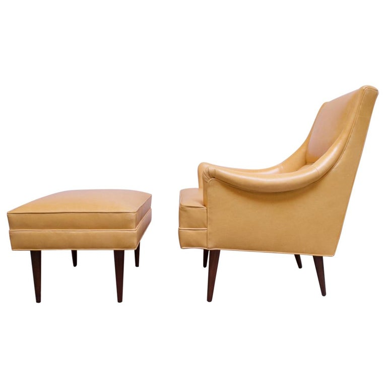 Leather and Walnut Milo Baughman for James Inc. Lounge Chair and Ottoman For Sale