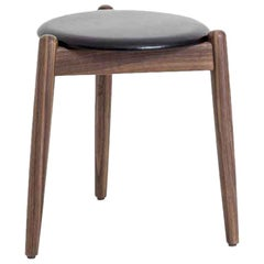 Leather and Walnut Stained Ash Wood Stool, Louisiana