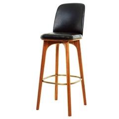 Leather and Walnut Wood Bar Stool, Utility Bar Chair