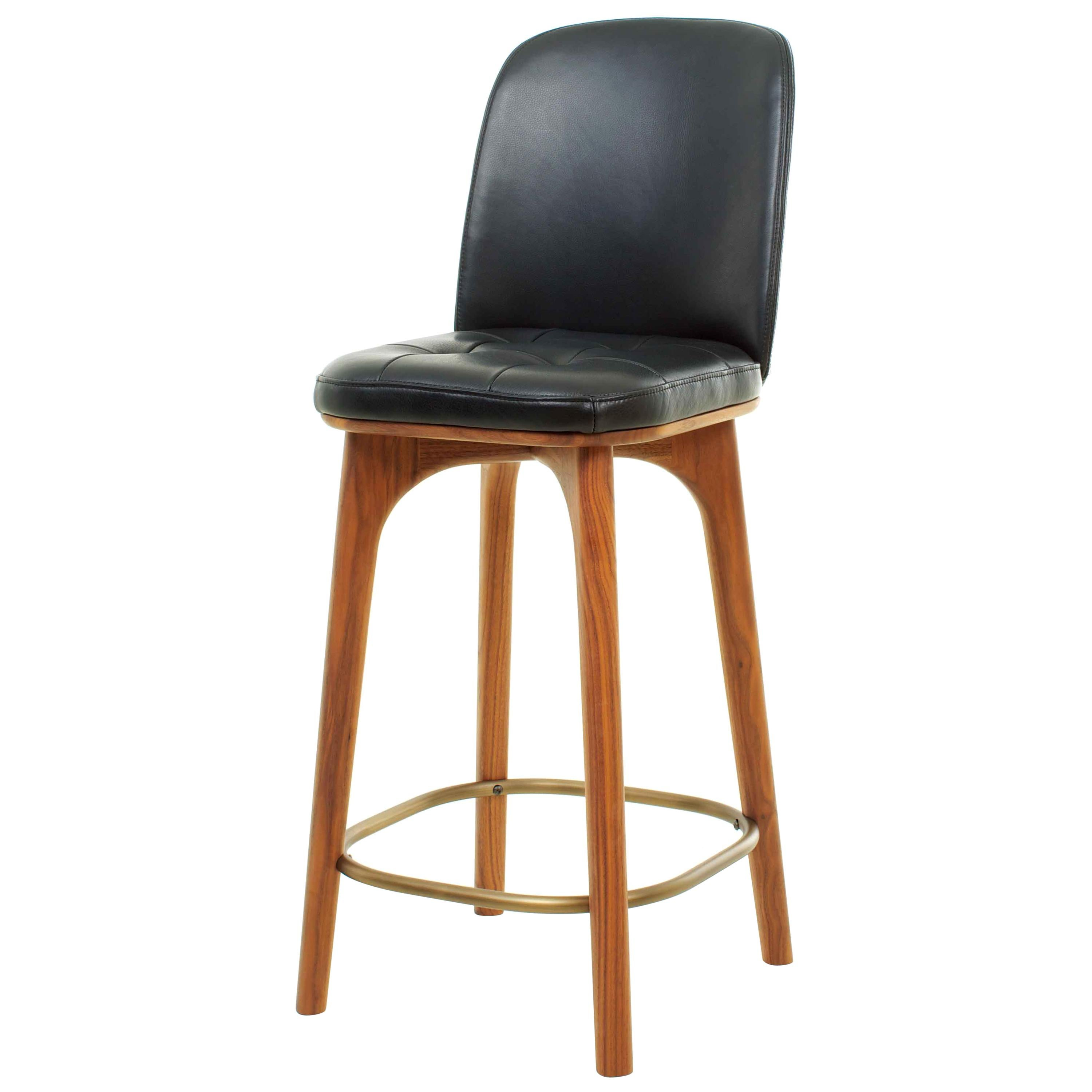 Leather and Walnut Wood Counter Bar Stool, Utility Counter Chair