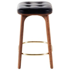 Leather and Walnut Wood Counter Stool, Utility Counter Stool