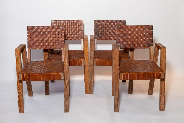 Leather and Wood Chairs, France, 1940s For Sale 3