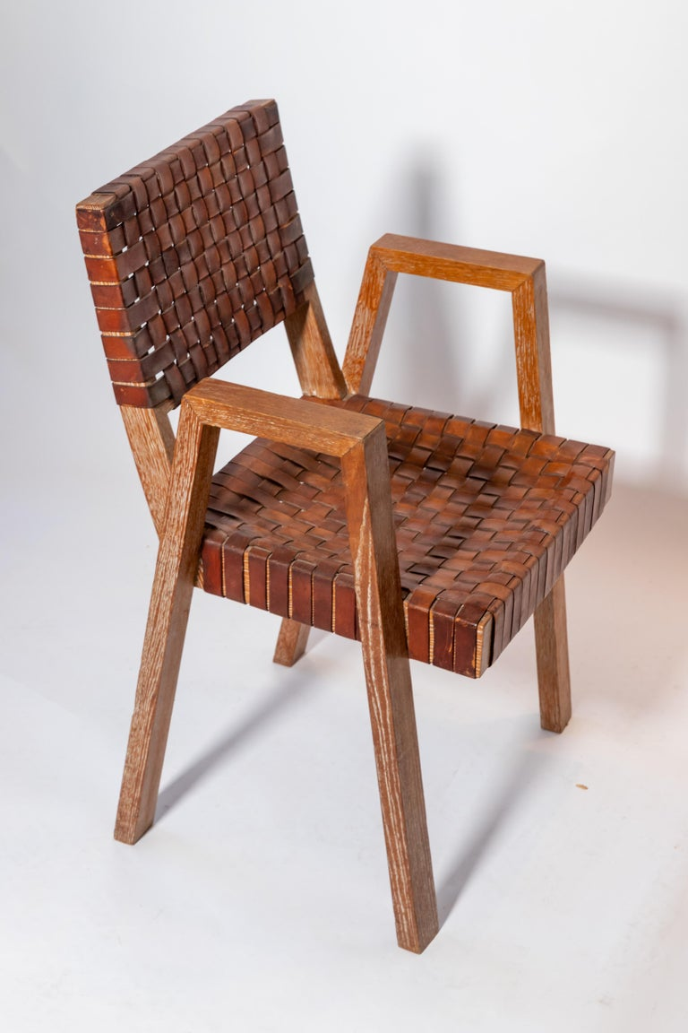 French Leather and Wood Chairs, France, 1940s For Sale