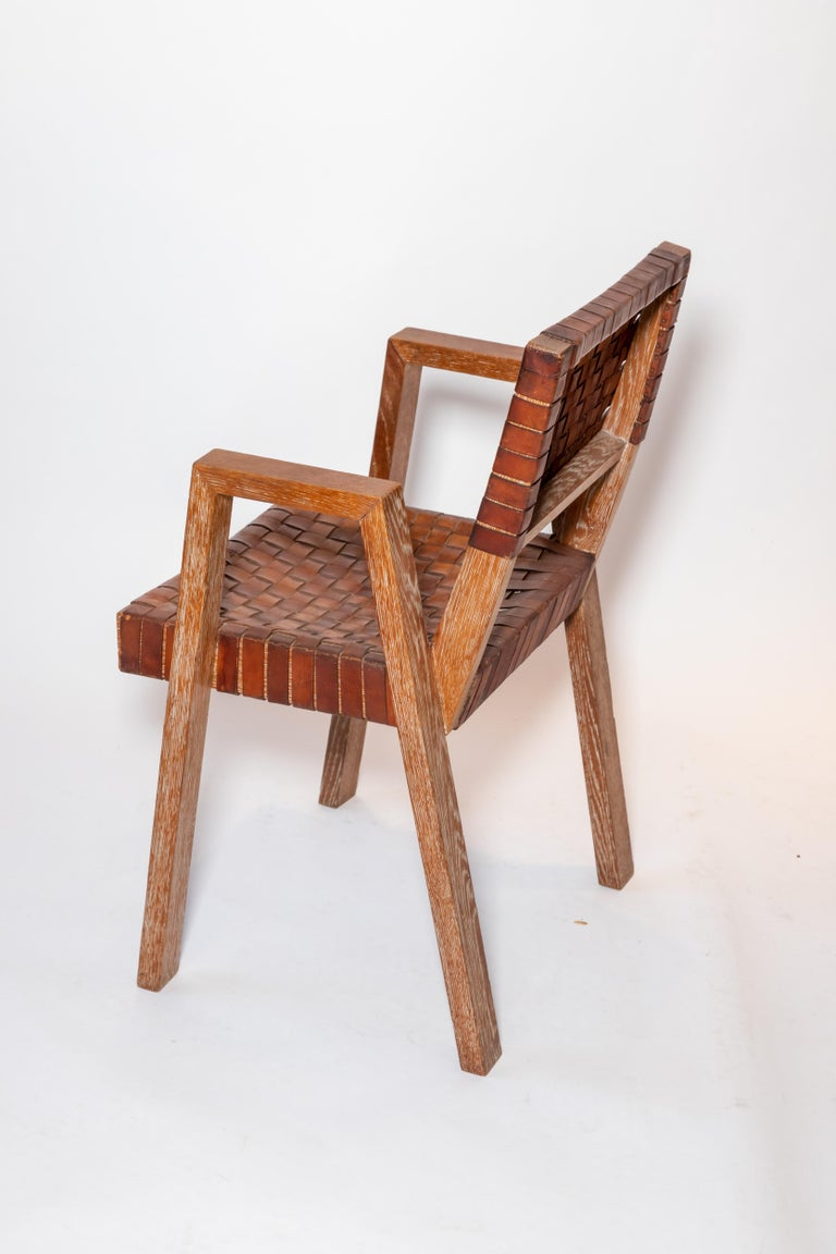 Leather and Wood Chairs, France, 1940s In Good Condition For Sale In East Hampton, NY
