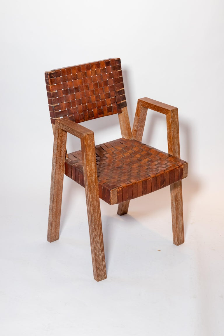 Mid-20th Century Leather and Wood Chairs, France, 1940s For Sale