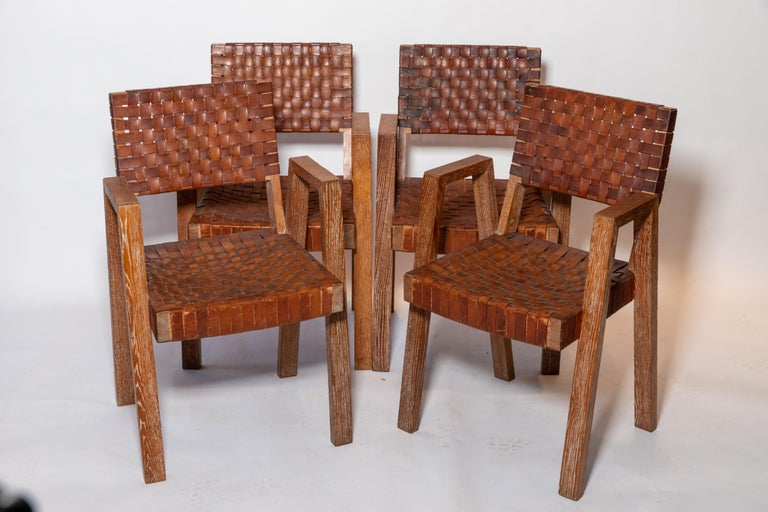 Leather and Wood Chairs, France, 1940s For Sale 2
