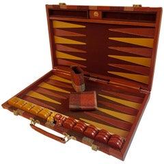 Leather and Wool Backgammon Suitcase Style Backgammon Set