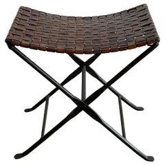 Leather and Wrought Iron Folding Stool