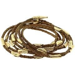 Leather and Yellow Gold Wrap Around Woven Multi Layer Bracelet Unisex