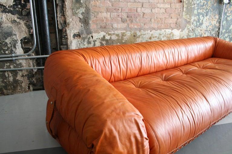 Italian Leather Anfibio Sofa / Bed by Alessandro Becchi for Giovannetti Collezioni, 1971 For Sale