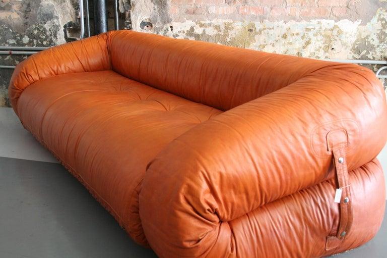 20th Century Leather Anfibio Sofa / Bed by Alessandro Becchi for Giovannetti Collezioni, 1971 For Sale