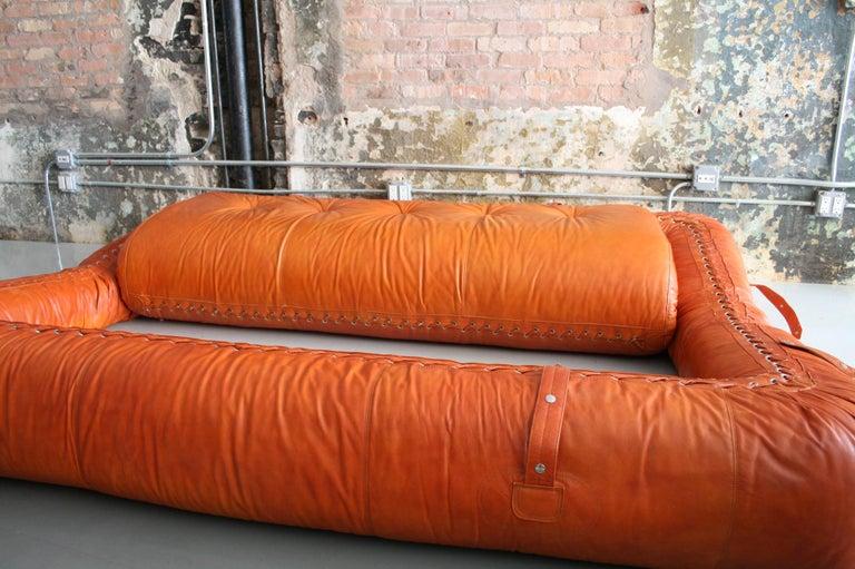 Leather Anfibio Sofa / Bed by Alessandro Becchi for Giovannetti Collezioni, 1971 For Sale 1