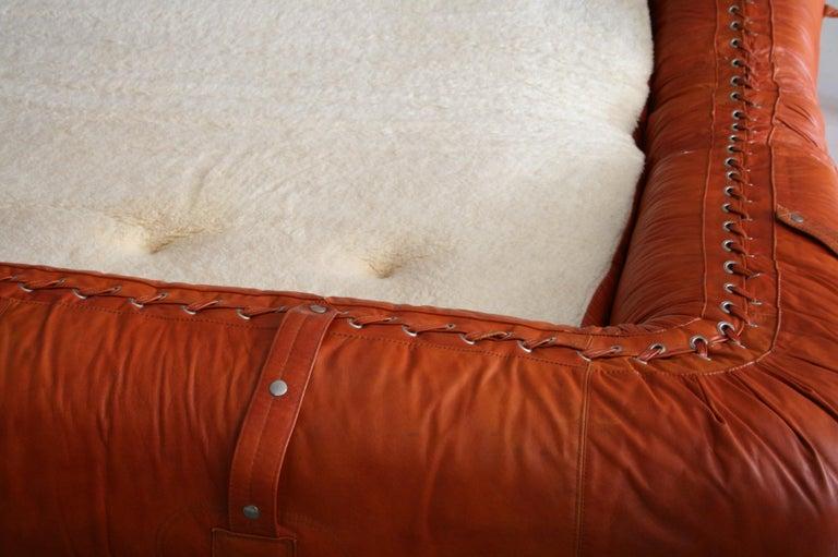 Leather Anfibio Sofa / Bed by Alessandro Becchi for Giovannetti Collezioni, 1971 For Sale 3