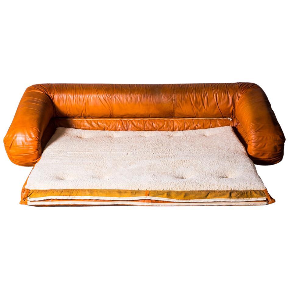 Leather Anfibio Sofa Bed by Alessandro Becchi for Giovannetti Collezioni, 1971