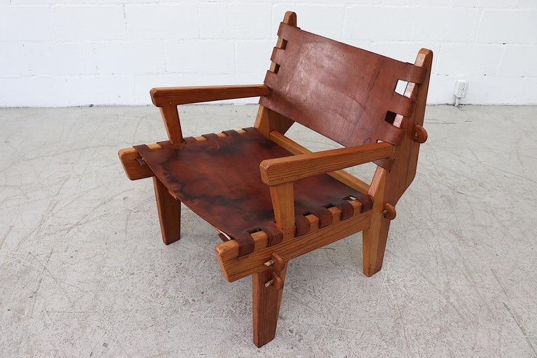 Leather Angel Pazmino Safari Lounge Chair For Sale 2