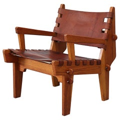 Angel Pazmino Leather Safari Lounge Chair