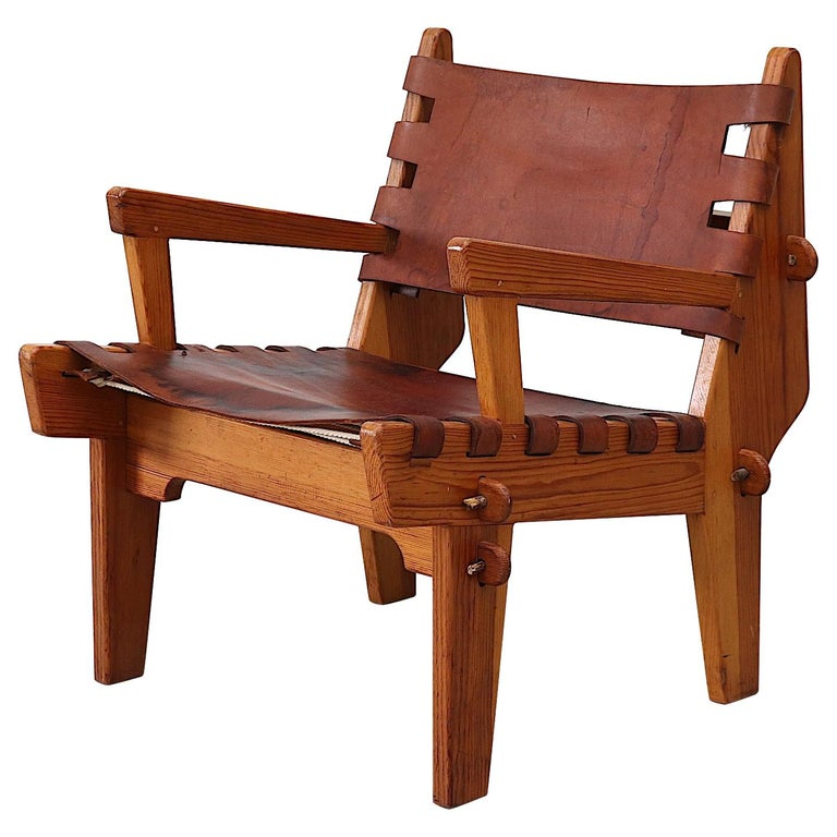 Leather Angel Pazmino Safari Lounge Chair For Sale