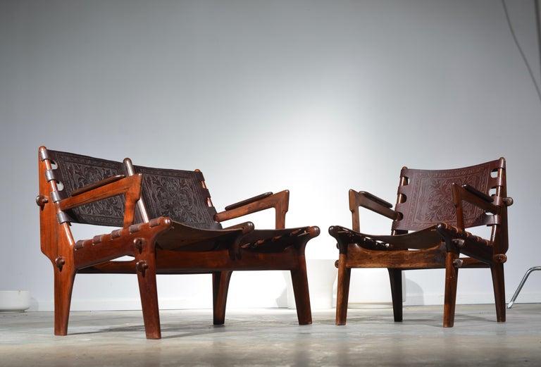 Leather Armchair by Angel Pazmino for Muebles De Estilo circa 1960 Ecuador For Sale 4