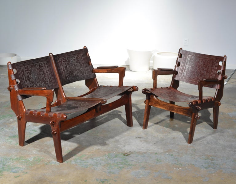 Leather Armchair by Angel Pazmino for Muebles De Estilo circa 1960 Ecuador For Sale 5