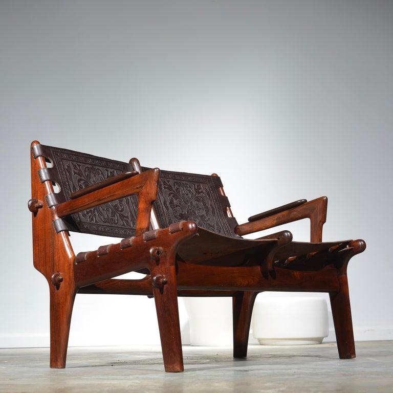 Leather Armchair by Angel Pazmino for Muebles De Estilo circa 1960 Ecuador For Sale 6