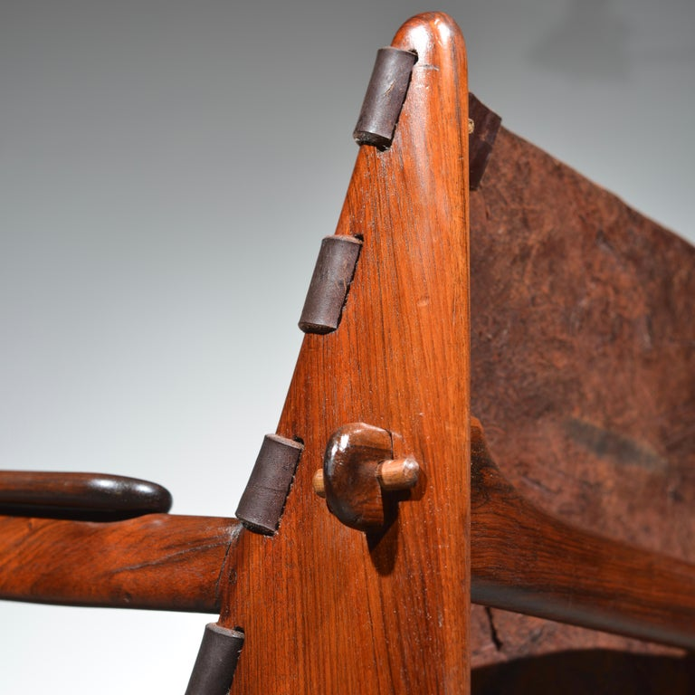 Leather Armchair by Angel Pazmino for Muebles De Estilo circa 1960 Ecuador For Sale 7