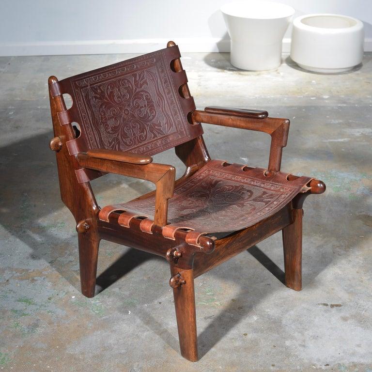 Organic Modern Leather Armchair by Angel Pazmino for Muebles De Estilo circa 1960 Ecuador For Sale
