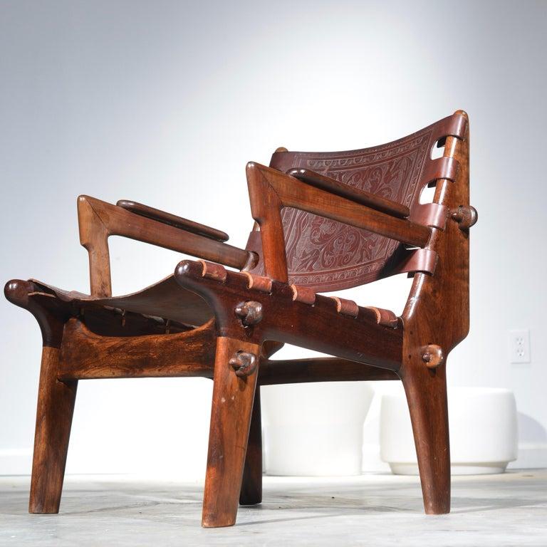 Ecuadorean Leather Armchair by Angel Pazmino for Muebles De Estilo circa 1960 Ecuador For Sale