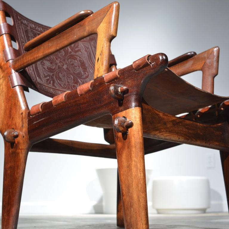 Leather Armchair by Angel Pazmino for Muebles De Estilo circa 1960 Ecuador For Sale 3