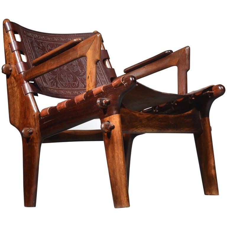 Leather Armchair by Angel Pazmino for Muebles De Estilo circa 1960 Ecuador For Sale