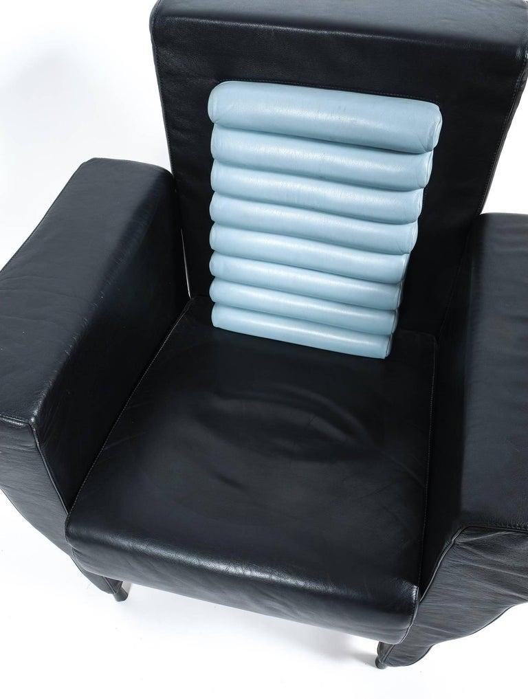 Italian Leather Armchair by Ugo La Pietra, 1985 For Sale