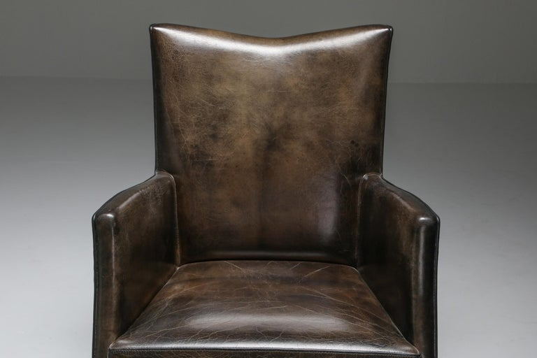Leather Art Deco Style Armchairs in Brown Grey Patina For Sale 5