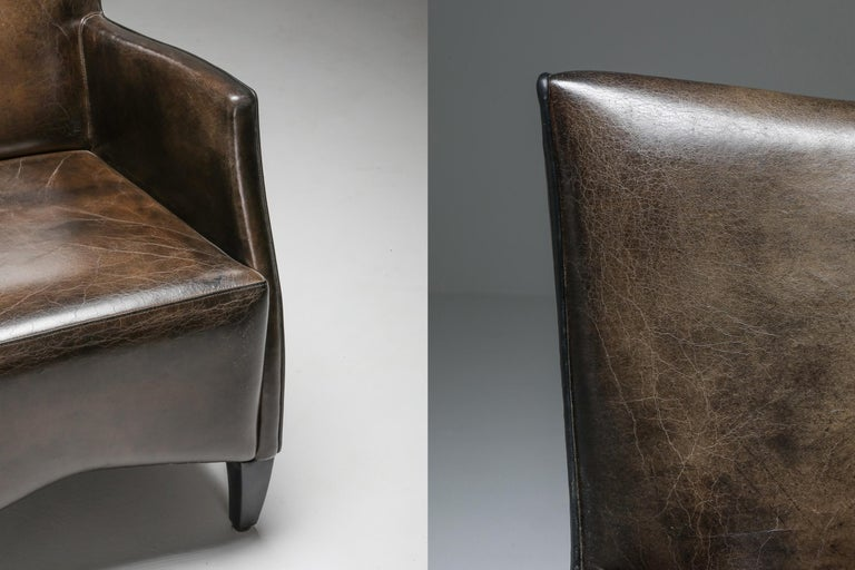 Leather Art Deco Style Armchairs in Brown Grey Patina For Sale 9