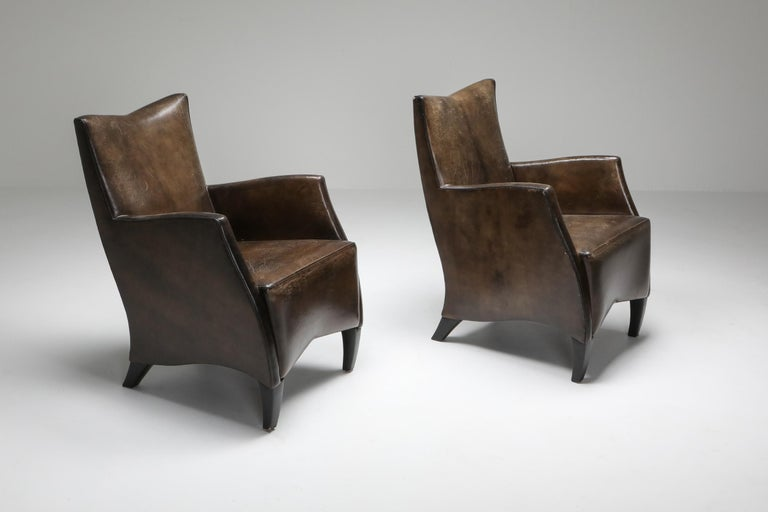 Leather armchairs by Bart Van Bekhoven, the Netherlands 1970s, set of six