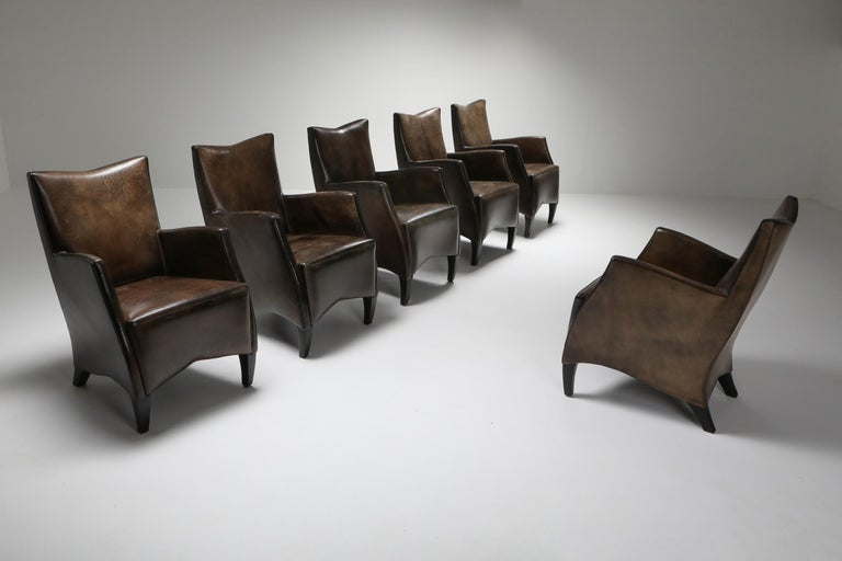 Dutch Leather Art Deco Style Armchairs in Brown Grey Patina For Sale