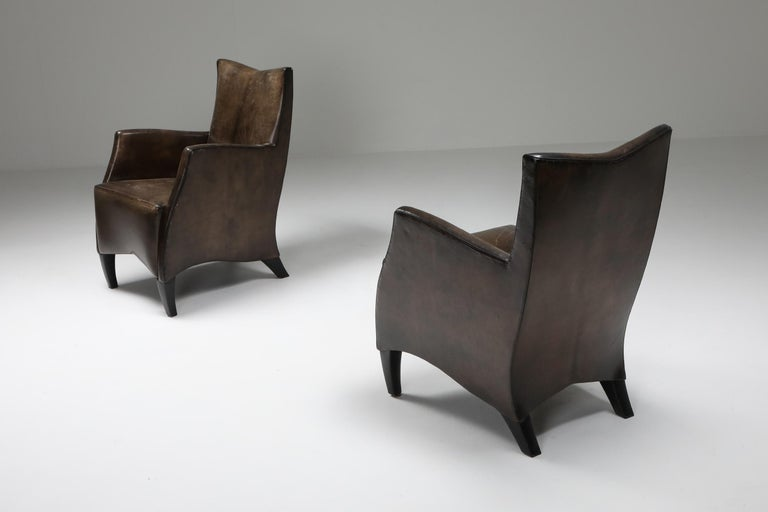 20th Century Leather Art Deco Style Armchairs in Brown Grey Patina For Sale