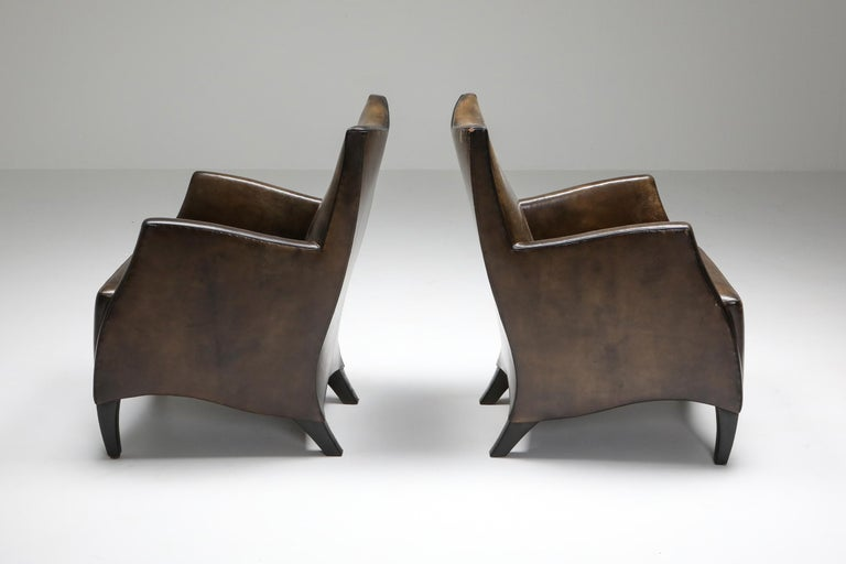 Leather Art Deco Style Armchairs in Brown Grey Patina For Sale 1