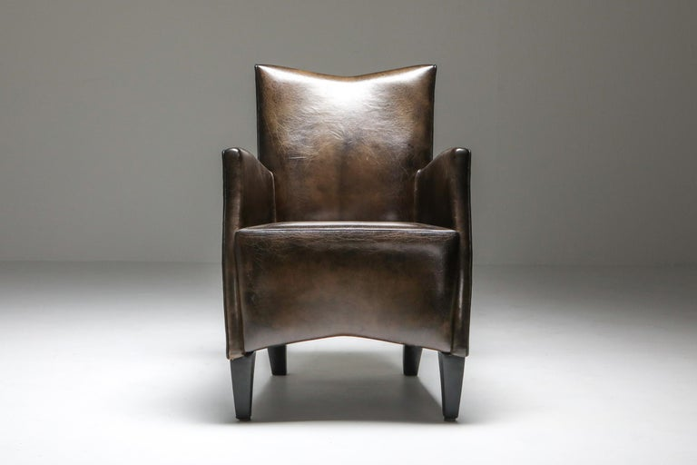 Leather Art Deco Style Armchairs in Brown Grey Patina For Sale 2