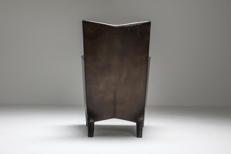 Leather Art Deco Style Armchairs in Brown Grey Patina For Sale 4