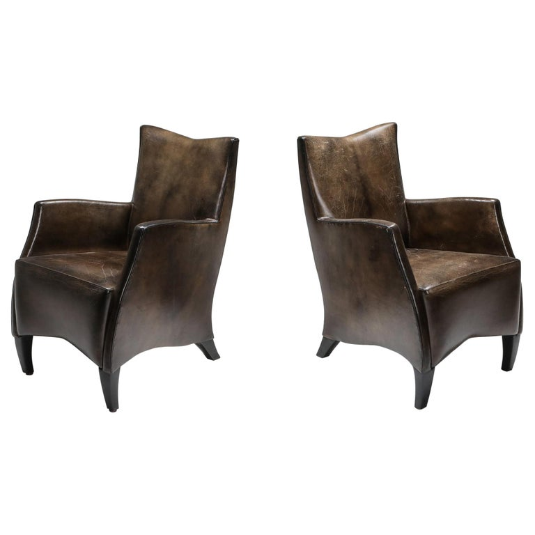 Leather Art Deco Style Armchairs in Brown Grey Patina For Sale