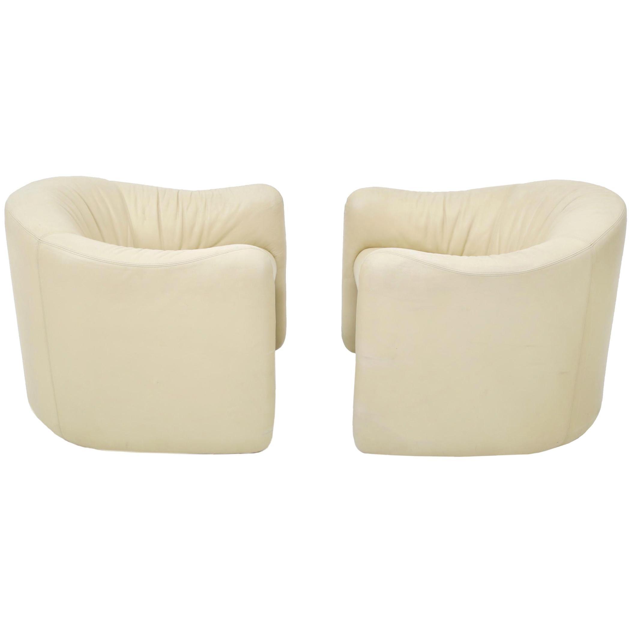 Leather Barrel Back Chairs, Metropolitan, 1970s
