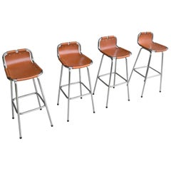 Leather Barstools for Les Arc Ski Resort France, Selected by Charlotte Perriand