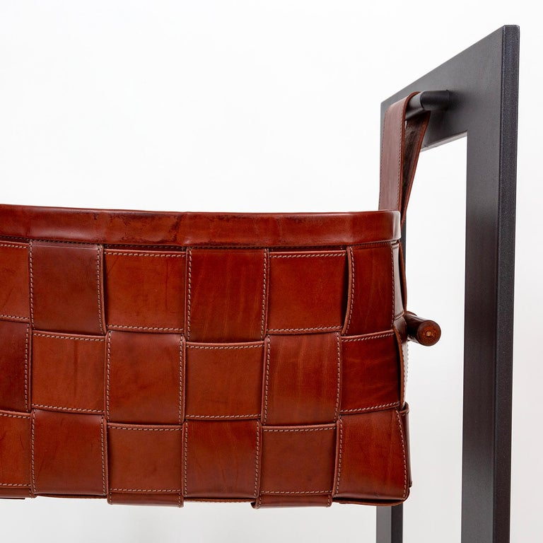 Italian Leather Basket with Stand Dark Brown For Sale