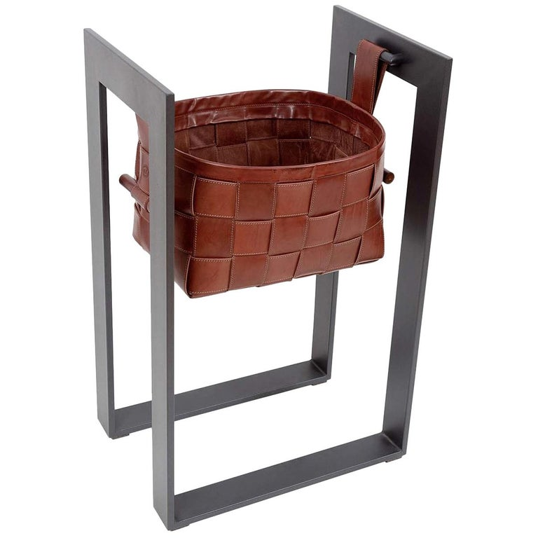 Leather Basket with Stand Dark Brown For Sale