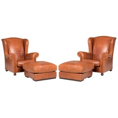 Leather Baxter Armchairs with Poufs Set of 4 Pieces
