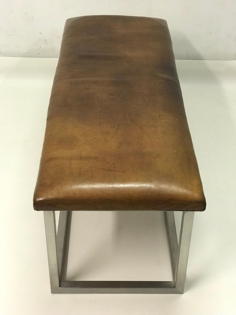 20th Century Leather Bench, '1930' For Sale