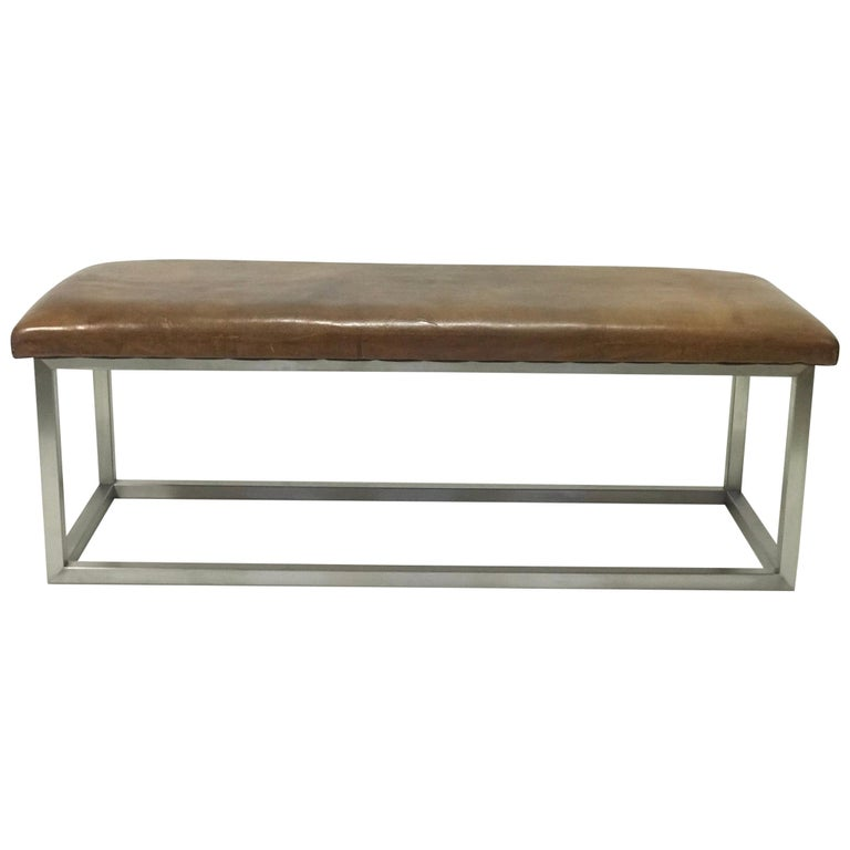 Leather Bench, '1930' For Sale