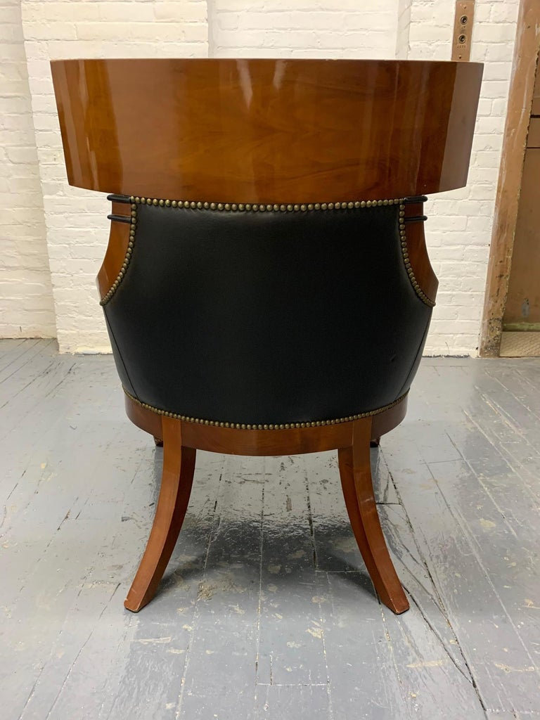 Leather Biedermeier Style Lounge Chair In Good Condition For Sale In New York, NY