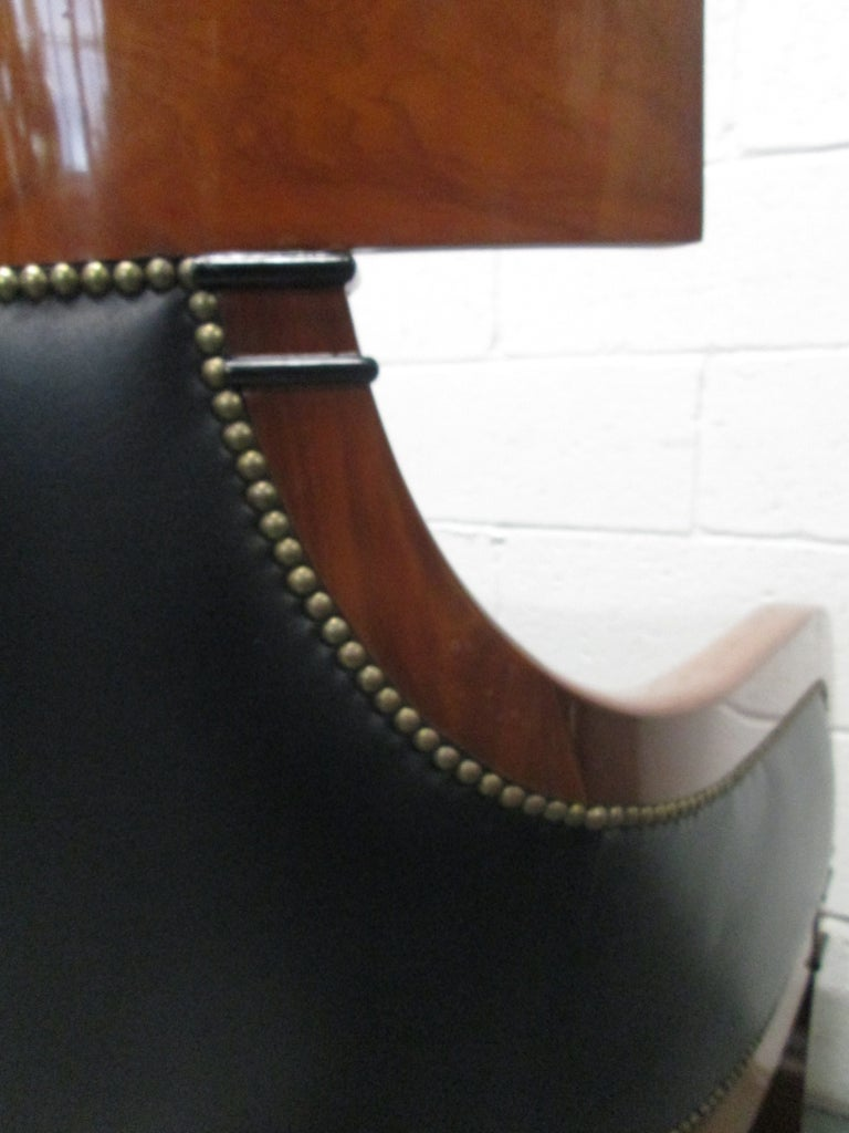 Mid-20th Century Leather Biedermeier Style Lounge Chair For Sale